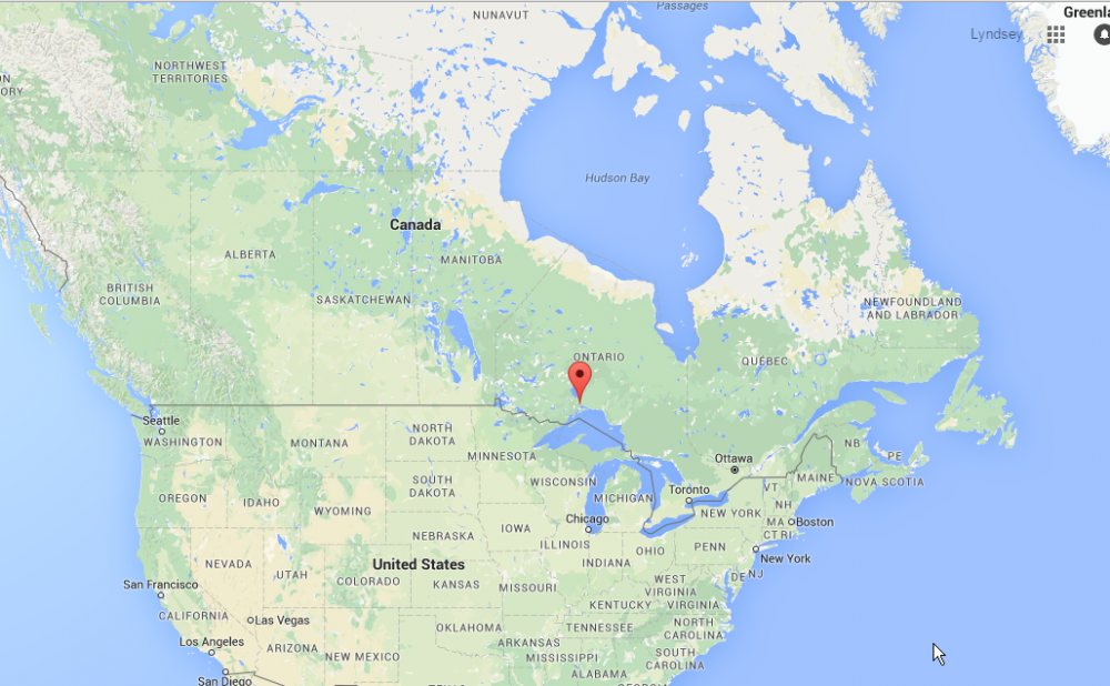 Google map showing location of bridge failure in Nipigon, Ontario
