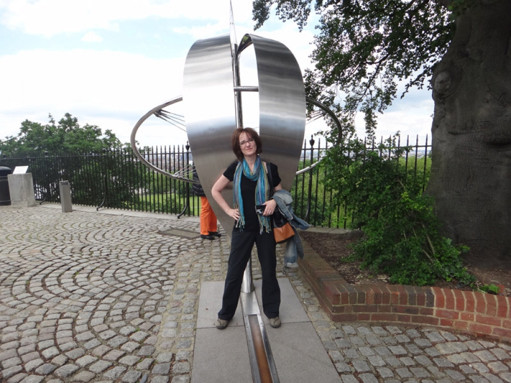 Lyndsey on the prime meridian