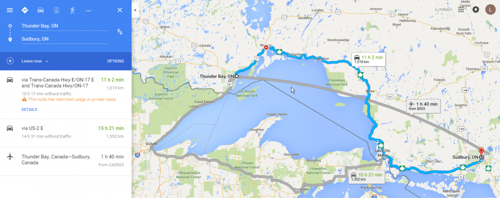google map showing detour on Sudbury to Thunder Bay route
