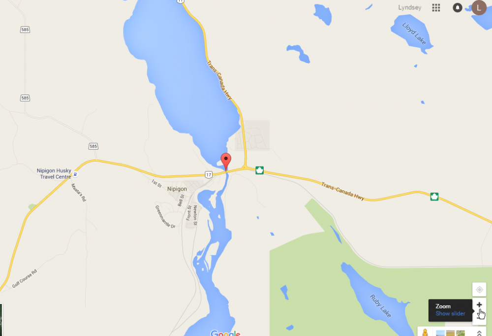 Google map of location of the Nipigon River Bridge