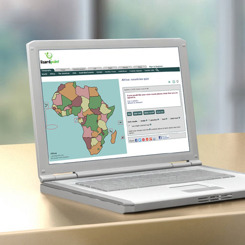 laptop with Africa map quiz displayed